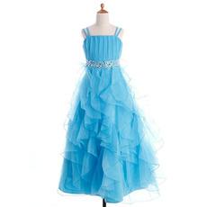 Discount Floor Length Ruffle Skirt Flower Girl Dresses with Straps