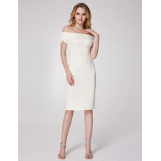 Sexy Off-the-shoulder Knee Length Homecoming Dress with Short Sleeves