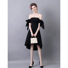 Sexy Strapless High-Low Satin Black Homecoming Dresses with Bows