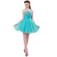 Custom A-Line One Shoulder Mini/ Short Homecoming/ Graduation Dresses