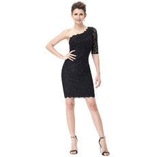 Inexpensive One Shoulder Mini/ Short Lace Black Homecoming Dresses