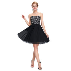 Sexy Sweetheart Mini/ Short Chiffon Black Homecoming/ Party Dresses