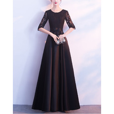 Elegant Floor Length Satin Mother Dresses with Half Lace Sleeves