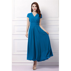 Custom V-Neck Tea Length Chiffon Mother Dresses with Short Sleeves