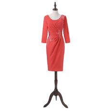 Elegant Column Knee Length Satin Mother Dress with 3/4 Long Sleeves