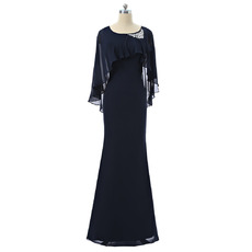Discount Sheath Floor Length Chiffon Mother Dresses with Wraps