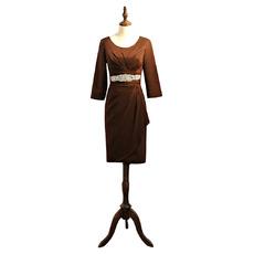 Elegant Knee Length Satin Mother Dresses with 3/4 Long Sleeves