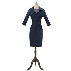 Elegant Column Sleeveless Knee Length Satin Mother Dress with Jackets