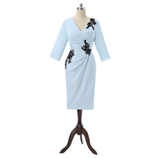 2018 Style V-Neck Knee Length Mother Dresses with 3/4 Long Sleeves