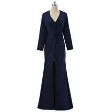 Custom Sheath V-Neck Long Satin Mother Dresses with Long Sleeves