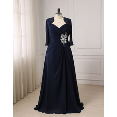 Custom Sweetheart Floor Length Chiffon Mother Dresses with Jackets