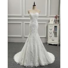 Custom Trumpet Sweetheart Floor Length Applique Wedding Dresses