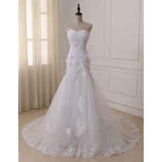 2018 New Trumpet Sweetheart Floor Length Applique Wedding Dresses