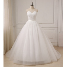 Custom A-Line Sweetheart Floor Length Organza Wedding Dresses