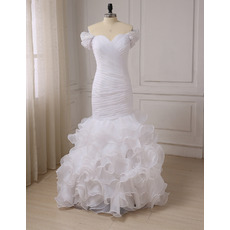 Elegant Trumpet Sweetheart Cap Sleeves Floor Length Wedding Dresses