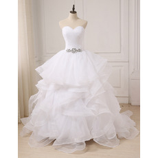 2018 Style Sweetheart Long Organza Layered Skirt Wedding Dresses
