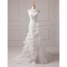 Inexpensive A-Line One Shoulder Floor Length Chiffon Wedding Dresses