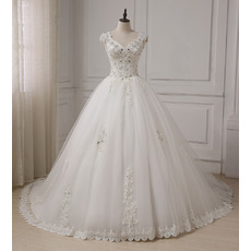 Elegant A-Line V-Neck Sleeveless Chapel Train Organza Wedding Dresses