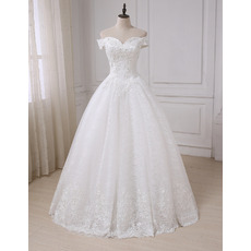Custom Sweetheart Off-the-shoulder Floor Length Lace Wedding Dresses