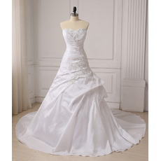 Affordable A-Line Sweetheart Chapel Train Taffeta Wedding Dresses