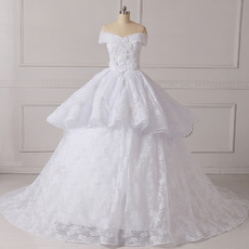 2018 New Ball Gown Off-the-shoulder Chapel Train Lace Wedding Dresses