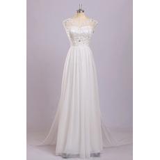 Discount V-Neck Sleeveless Floor Length Chiffon Wedding Dresses