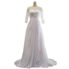 Custom Sweep Train Chiffon Wedding Dresses with 3/4 Long Sleeves