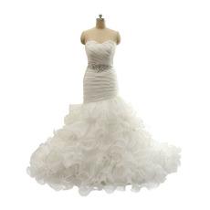2018 New Style Trumpet Sweetheart Long Ruffle Skirt Wedding Dresses