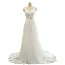 Custom V-Neck Sweep Train Chiffon Wedding Dresses with Straps