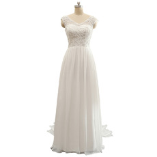 Affordable V-Neck Sleeveless Floor Length Chiffon Wedding Dresses
