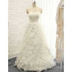 Elegant Sweetheart Floor Length Tulle Ruffle Skirt Wedding Dresses