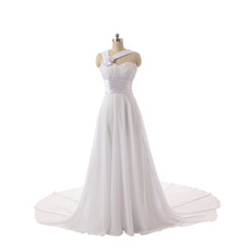 Elegant Sweetheart Chapel Train Chiffon Wedding Dresses with Straps
