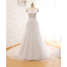 Discount Sweetheart Court Train Organza Wedding Dresses with Straps