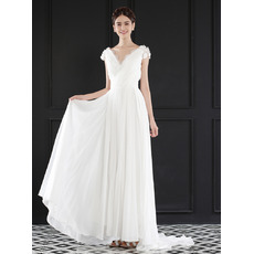 2018 V-Neck Floor Length Chiffon Wedding Dresses with Short Sleeves