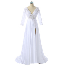 Custom V-Neck Satin Slit Wedding Dresses with 3/4 Long Sleeves