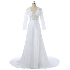 Affordable V-Neck Satin Wedding Dresses with Long Lace Sleeves