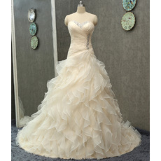Affordable Sweetheart Sweep Train Organza Ruffle Skirt Wedding Dresses