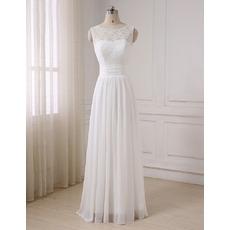 Vintage A-Line Sleeveless Floor Length Lace Chiffon Wedding Dresses