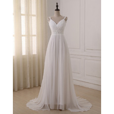 2018 Style Sweetheart Straps Sweep Train Chiffon Wedding Dresses