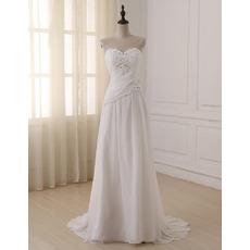 Custom Sweetheart Sleeveless Sweep Train Chiffon Wedding Dresses