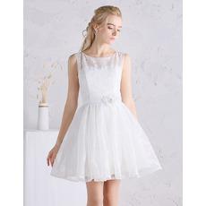 Casual A-Line Sleeveless Mini Satin Lace Summer Wedding Dresses