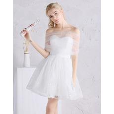 2018 Summer Off-the-shoulder Mini/ Short Tulle Wedding Dresses