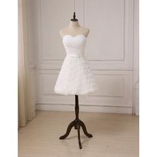 Informal Sweetheart Knee Length Floral Skirt Petite Wedding Dresses