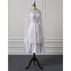 Custom Tea Length Lace Taffeta Wedding Dresses with Long Sleeves
