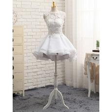 2018 A-Line Sleeveless Mini/ Short Petite Organza Wedding Dresses