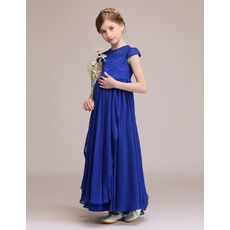 2019 New Cap Sleeves Ankle Length Chiffon Junior Bridesmaid Dresses