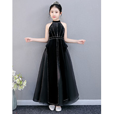 2020 Style Halter Ankle Length Black Junior Bridesmaid Dresses