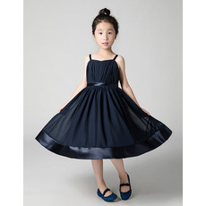 Inexpensive Spaghetti Straps Long Chiffon Junior Bridesmaid Dresses