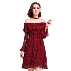 Elegant Off-the-shoulder Short Lace Cocktail/ Holiday Dresses with Sleeves