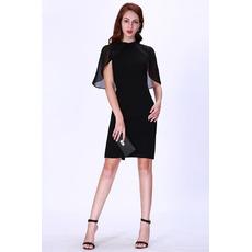 Custom Sheath Short Satin Black Cocktail/ Holiday/ Party Dresses